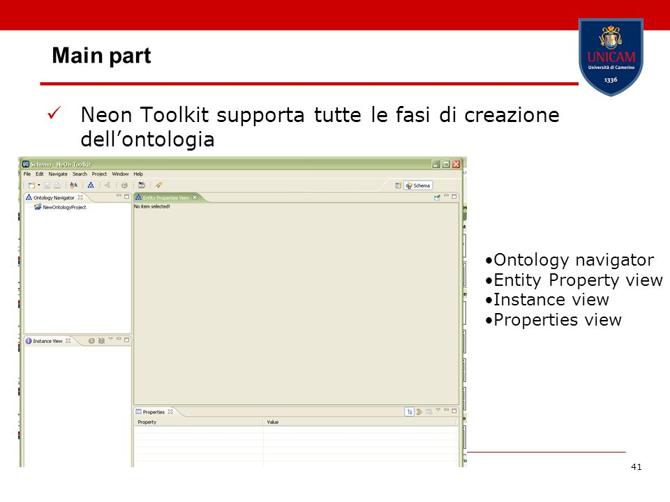 41 Main part Neon Toolkit supporta tutte le fasi di creazione dellontologia Ontology navigator Entity Property view Instance view Properties view