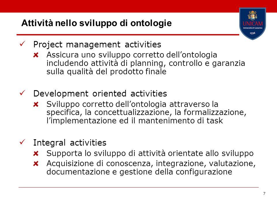 7 Attività nello sviluppo di ontologie Project management activities Assicura uno sviluppo corretto dellontologia includendo attività di planning, con