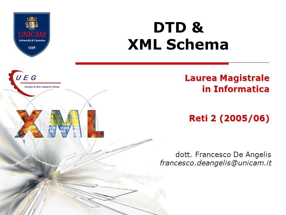 DTD & XML Schema52 Date e tempo xs:date -- Una data nel formato CCYY-MM-DD, for example, 2002-11-05 xs:time -- Una data nel formato hh:mm:ss (hours, minutes, seconds) xs:dateTime -- Il formato è CCYY-MM-DD T hh:mm:ss La T è parte della sintassi Restrizioni consentite: enumeration, minInclusive, minExclusive, maxInclusive, maxExclusive, pattern, whiteSpace