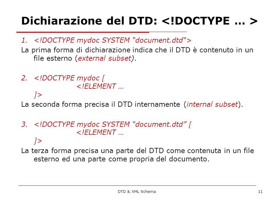DTD & XML Schema11 Dichiarazione del DTD: 1.
