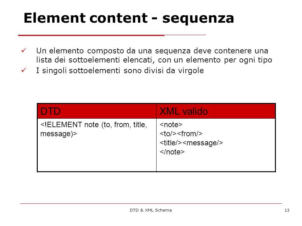 DTD & XML Schema13 Element content - sequenza Un elemento composto da una sequenza deve contenere una lista dei sottoelementi elencati, con un elemento per ogni tipo I singoli sottoelementi sono divisi da virgole DTDXML valido