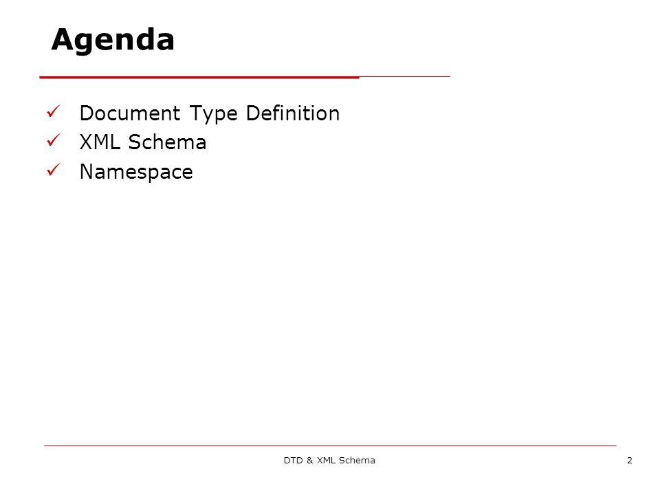 DTD & XML Schema33 Il documento XSD: lo schema Lestensione è.xsd Lelemento root è Il documento XSD parte con: Attenzione: documento XSD stesso è scritto in XML