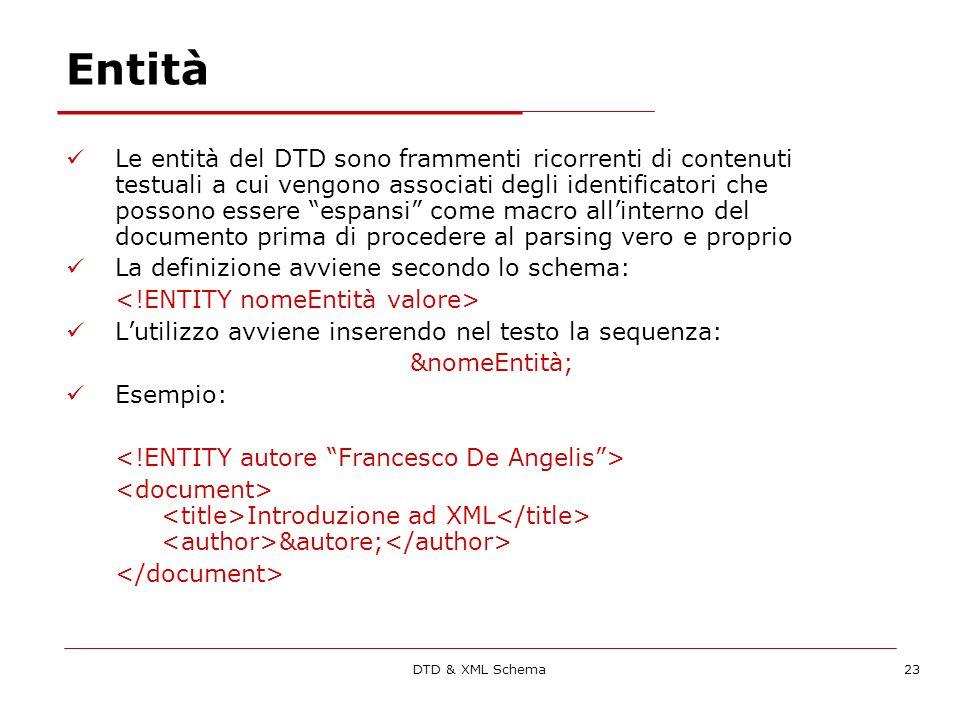DTD & XML Schema23 Entità Le entità del DTD sono frammenti ricorrenti di contenuti testuali a cui vengono associati degli identificatori che possono essere espansi come macro allinterno del documento prima di procedere al parsing vero e proprio La definizione avviene secondo lo schema: Lutilizzo avviene inserendo nel testo la sequenza: &nomeEntità; Esempio: Introduzione ad XML &autore;