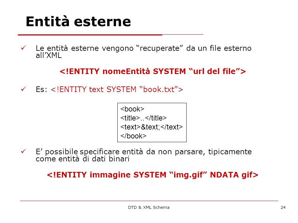 DTD & XML Schema24 Entità esterne Le entità esterne vengono recuperate da un file esterno allXML Es: E possibile specificare entità da non parsare, tipicamente come entità di dati binari..