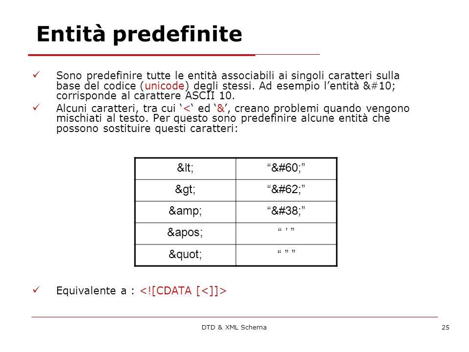 DTD & XML Schema25 Entità predefinite Sono predefinire tutte le entità associabili ai singoli caratteri sulla base del codice (unicode) degli stessi.