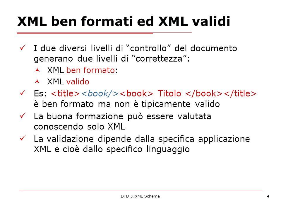 DTD & XML Schema5 La forma di un documento XML Ogni documento XML inizia con un prologo che contiene: una XML declaration eventualmente una Doctype Declaration (la dichiarazione della DTD a cui il documento si riferisce) eventualmente una serie di processing instruction Le processing instruction sono utilizzate raramente, servono più che altro per laggiunta di fogli di stile