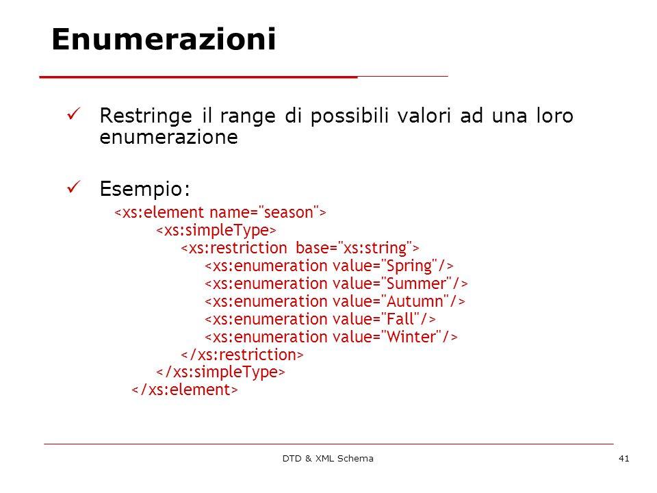 DTD & XML Schema41 Enumerazioni Restringe il range di possibili valori ad una loro enumerazione Esempio: