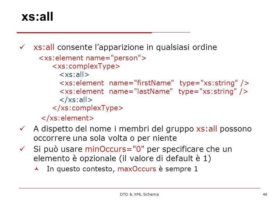 DTD & XML Schema46 xs:all xs:all consente lapparizione in qualsiasi ordine A dispetto del nome i membri del gruppo xs:all possono occorrere una sola volta o per niente Si può usare minOccurs= 0 per specificare che un elemento è opzionale (il valore di default è 1) In questo contesto, maxOccurs è sempre 1