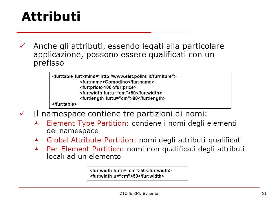 DTD & XML Schema61 Attributi Anche gli attributi, essendo legati alla particolare applicazione, possono essere qualificati con un prefisso Il namespace contiene tre partizioni di nomi: Element Type Partition: contiene i nomi degli elementi del namespace Global Attribute Partition: nomi degli attributi qualificati Per-Element Partition: nomi non qualificati degli attributi locali ad un elemento Comodino 100 50 80 50