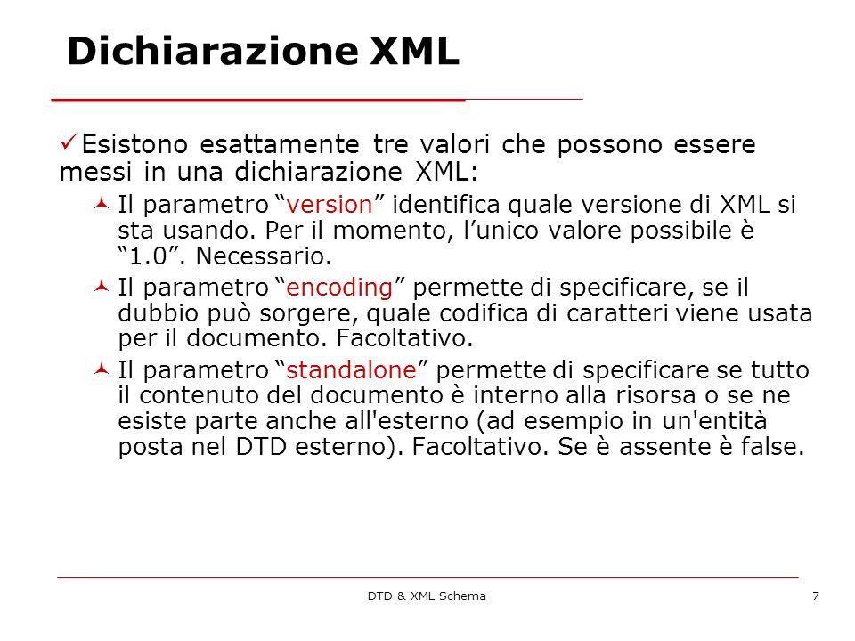 DTD & XML Schema58 I namespace Ma non basta: Il prefisso potrebbe ripetersi Documenti diversi potrebbero identificare lo stesso namespace logico con identificativi differenti Imporre lunicità porterebbe a ns lunghissimi ed a codici illeggibili I prefissi usati vengono introdotti tramite lattributo predefinito xmlns Quello che conta è lURI univoco associato al prefisso: http://www.w3.org/HTML/1998/html4 <h:table xmlns:h=http://www.w3.org/HTML/1998/html4/http://www.w3.org/HTML/1998/html4 xmlns:fur=http://www.elet.polimi.it/furniture/> http://www.w3.org/HTML/1998/html4