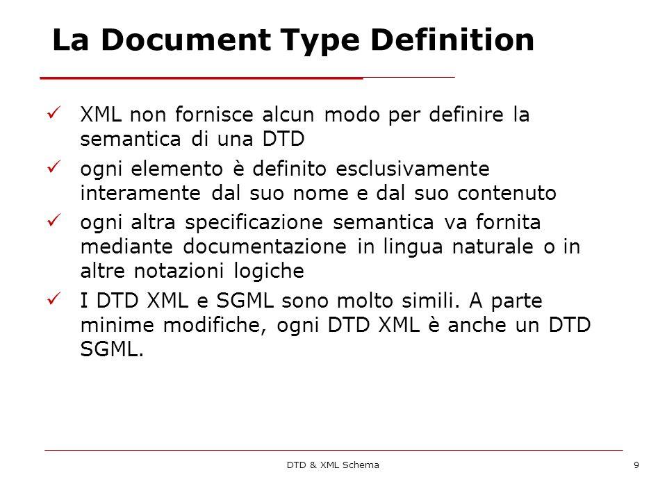 DTD & XML Schema9 La Document Type Definition XML non fornisce alcun modo per definire la semantica di una DTD ogni elemento è definito esclusivamente interamente dal suo nome e dal suo contenuto ogni altra specificazione semantica va fornita mediante documentazione in lingua naturale o in altre notazioni logiche I DTD XML e SGML sono molto simili.