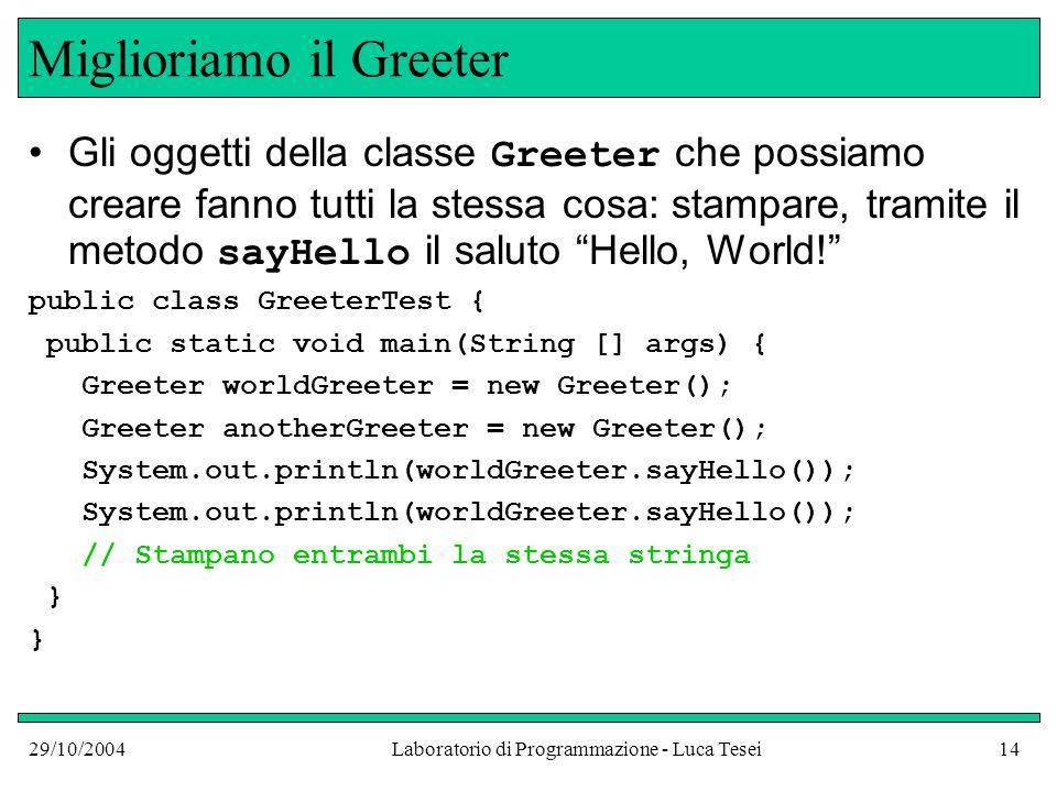 29/10/2004Laboratorio di Programmazione - Luca Tesei14 Miglioriamo il Greeter Gli oggetti della classe Greeter che possiamo creare fanno tutti la stessa cosa: stampare, tramite il metodo sayHello il saluto Hello, World.