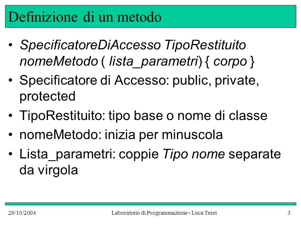 29/10/2004Laboratorio di Programmazione - Luca Tesei24 Stato ai vari punti del programma public class NameGreeterTest { public static void main(String argv[]) { NameGreeter worldGreeter = new NameGreeter(); NameGreeter lucaGreeter = new NameGreeter( Luca ); System.out.println( worldGreeter.sayHello()); System.out.println(lucaGreeter.sayHello()); }