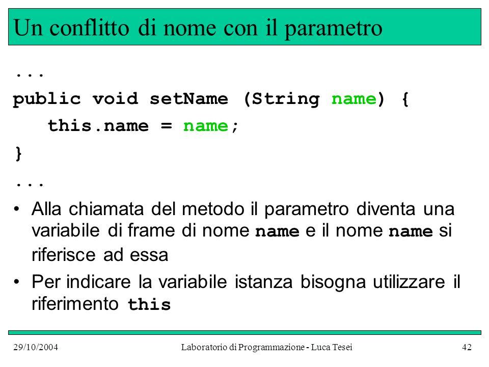 29/10/2004Laboratorio di Programmazione - Luca Tesei42 Un conflitto di nome con il parametro...