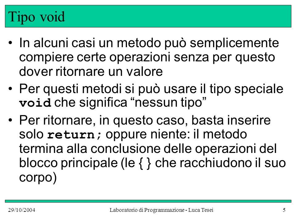 29/10/2004Laboratorio di Programmazione - Luca Tesei26 Stato ai vari punti del programma public class NameGreeterTest { public static void main(String argv[]) { NameGreeter worldGreeter = new NameGreeter(); NameGreeter lucaGreeter = new NameGreeter( Luca ); System.out.println( worldGreeter.sayHello()); System.out.println(lucaGreeter.sayHello()); }