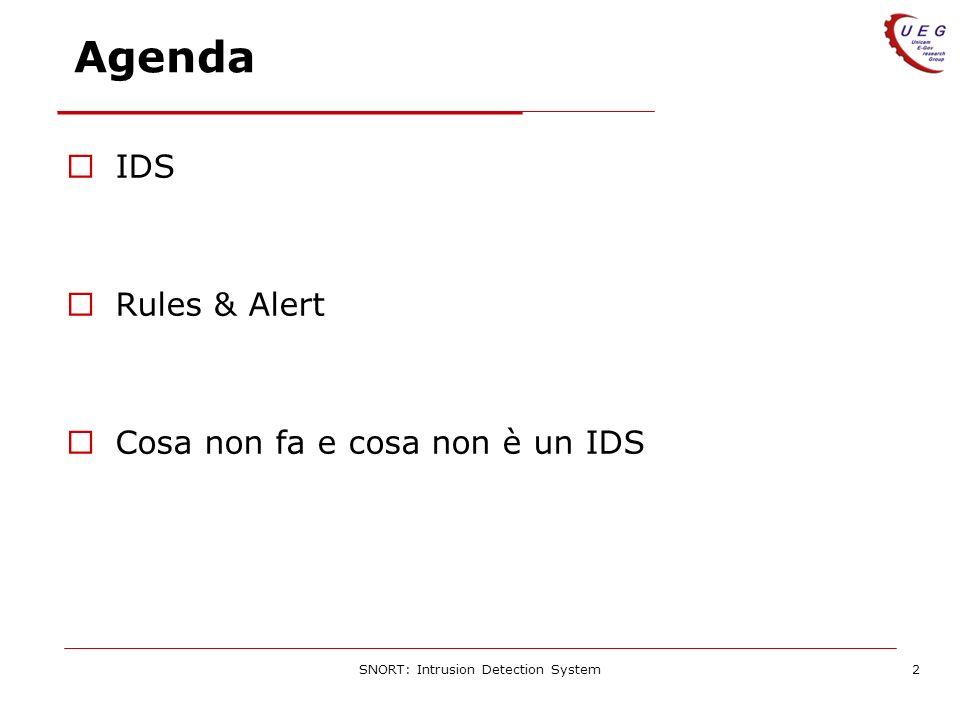 SNORT: Intrusion Detection System2 Agenda IDS Rules & Alert Cosa non fa e cosa non è un IDS