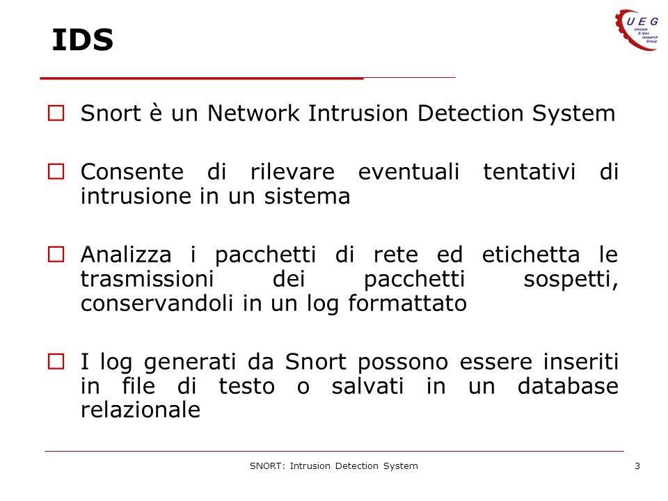 SNORT: Intrusion Detection System3 IDS Snort è un Network Intrusion Detection System Consente di rilevare eventuali tentativi di intrusione in un sistema Analizza i pacchetti di rete ed etichetta le trasmissioni dei pacchetti sospetti, conservandoli in un log formattato I log generati da Snort possono essere inseriti in file di testo o salvati in un database relazionale