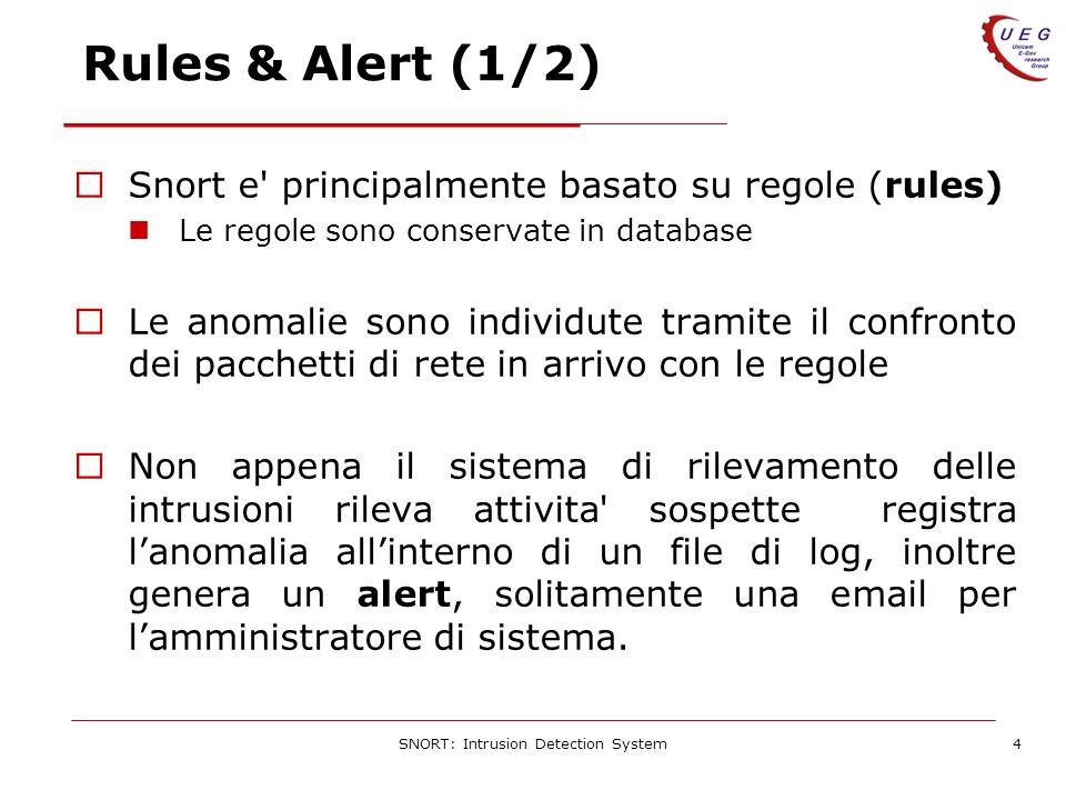 SNORT: Intrusion Detection System4 Rules & Alert (1/2) Snort e principalmente basato su regole (rules) Le regole sono conservate in database Le anomalie sono individute tramite il confronto dei pacchetti di rete in arrivo con le regole Non appena il sistema di rilevamento delle intrusioni rileva attivita sospette registra lanomalia allinterno di un file di log, inoltre genera un alert, solitamente una email per lamministratore di sistema.