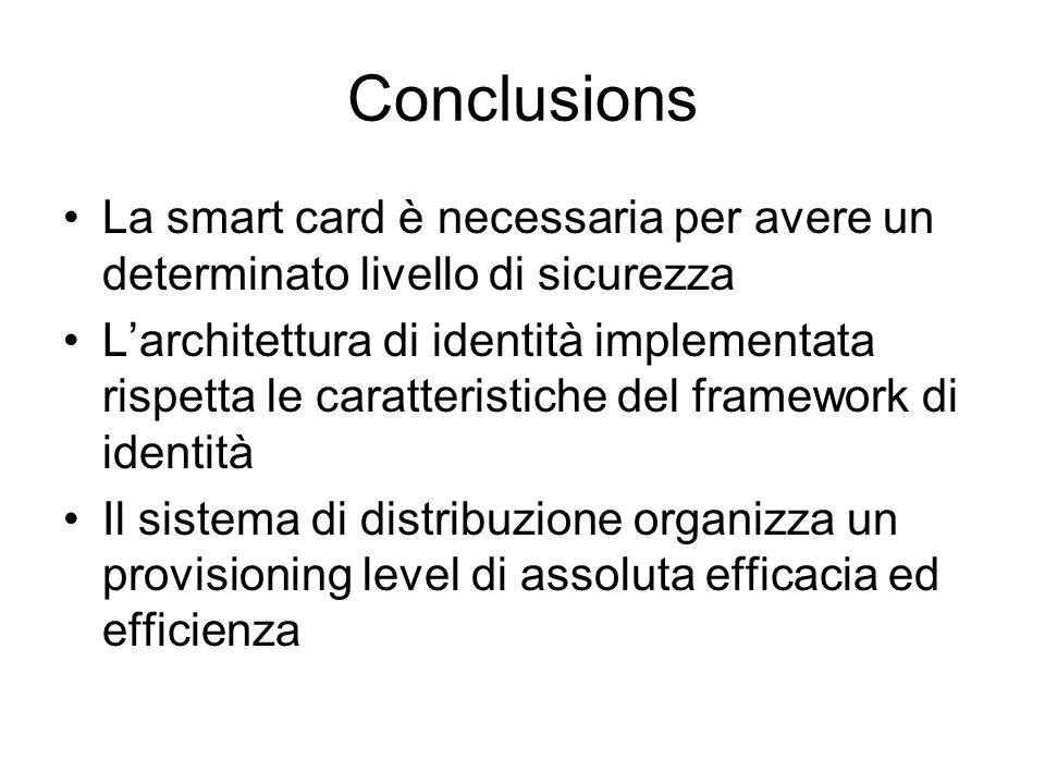 Conclusions La smart card è necessaria per avere un determinato livello di sicurezza Larchitettura di identità implementata rispetta le caratteristiche del framework di identità Il sistema di distribuzione organizza un provisioning level di assoluta efficacia ed efficienza