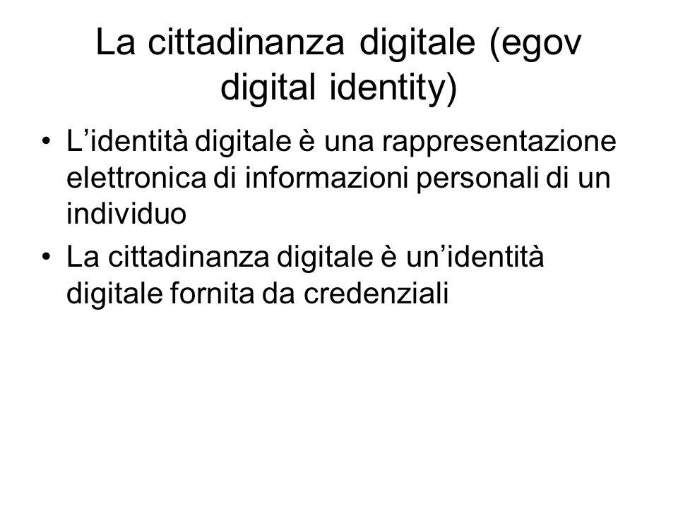 La cittadinanza digitale (egov digital identity) Lidentità digitale è una rappresentazione elettronica di informazioni personali di un individuo La cittadinanza digitale è unidentità digitale fornita da credenziali