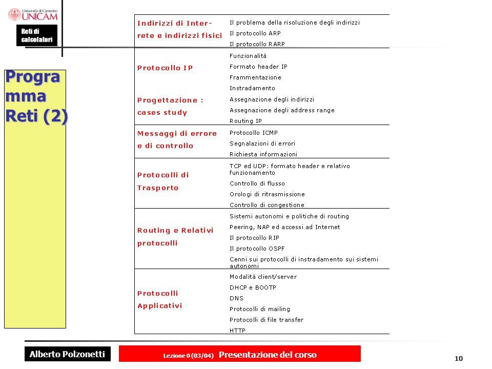 Alberto Polzonetti Reti di calcolatori Lezione 0 (03/04) Presentazione del corso 10 Progra mma Reti (2)