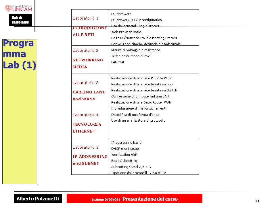 Alberto Polzonetti Reti di calcolatori Lezione 0 (03/04) Presentazione del corso 11 Progra mma Lab (1)