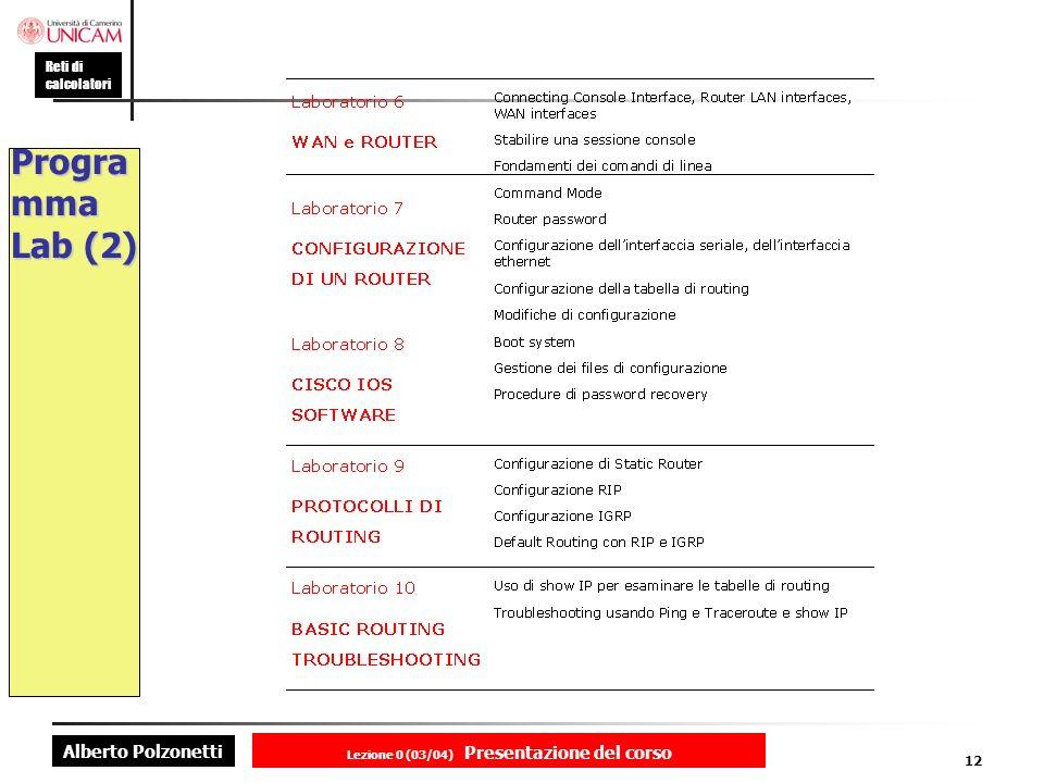 Alberto Polzonetti Reti di calcolatori Lezione 0 (03/04) Presentazione del corso 12 Progra mma Lab (2)