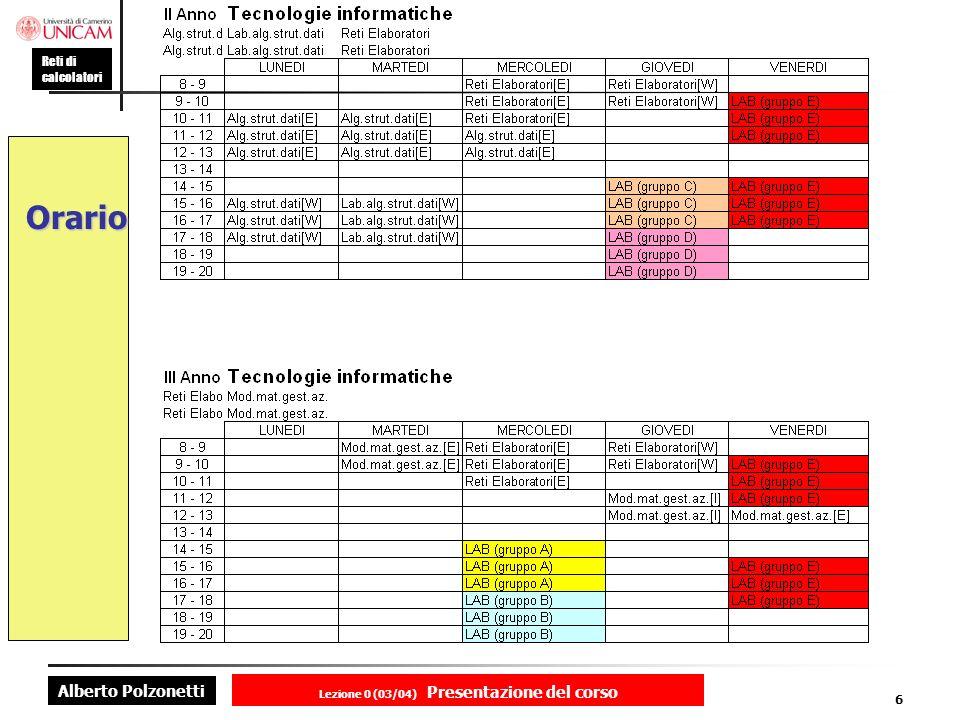 Alberto Polzonetti Reti di calcolatori Lezione 0 (03/04) Presentazione del corso 6 Orario
