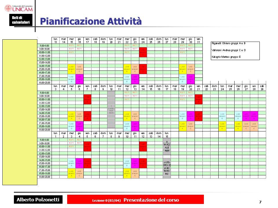 Alberto Polzonetti Reti di calcolatori Lezione 0 (03/04) Presentazione del corso 7 Pianificazione Attività