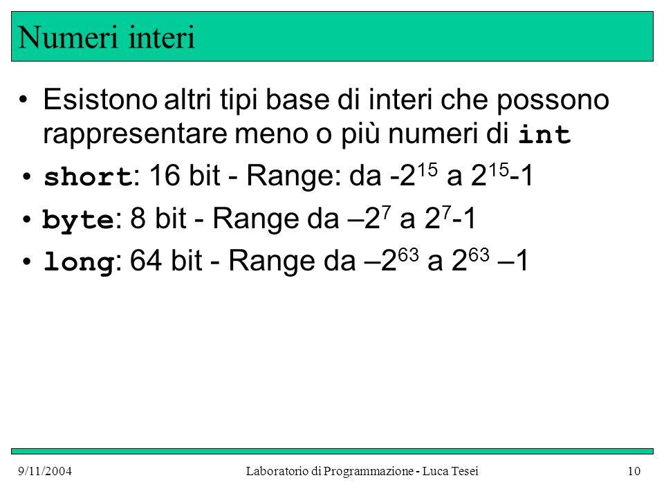 9/11/2004Laboratorio di Programmazione - Luca Tesei10 Numeri interi Esistono altri tipi base di interi che possono rappresentare meno o più numeri di int short : 16 bit - Range: da -2 15 a 2 15 -1 byte : 8 bit - Range da –2 7 a 2 7 -1 long : 64 bit - Range da –2 63 a 2 63 –1