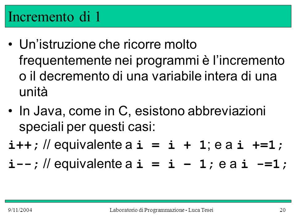 9/11/2004Laboratorio di Programmazione - Luca Tesei20 Incremento di 1 Unistruzione che ricorre molto frequentemente nei programmi è lincremento o il decremento di una variabile intera di una unità In Java, come in C, esistono abbreviazioni speciali per questi casi: i++; // equivalente a i = i + 1 ; e a i +=1; i--; // equivalente a i = i – 1; e a i -=1;