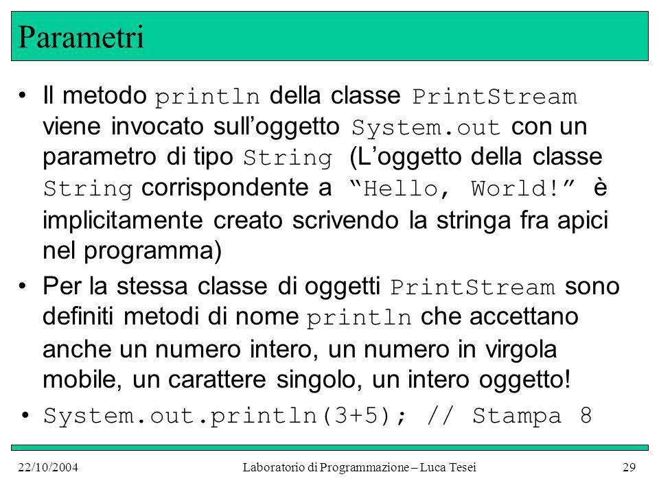 22/10/2004Laboratorio di Programmazione – Luca Tesei29 Parametri Il metodo println della classe PrintStream viene invocato sulloggetto System.out con un parametro di tipo String (Loggetto della classe String corrispondente a Hello, World.