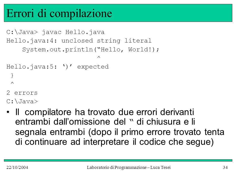 22/10/2004Laboratorio di Programmazione – Luca Tesei34 Errori di compilazione C:\Java> javac Hello.java Hello.java:4: unclosed string literal System.out.println(Hello, World!); ^ Hello.java:5: ) expected } ^ 2 errors C:\Java> Il compilatore ha trovato due errori derivanti entrambi dallomissione del di chiusura e li segnala entrambi (dopo il primo errore trovato tenta di continuare ad interpretare il codice che segue)