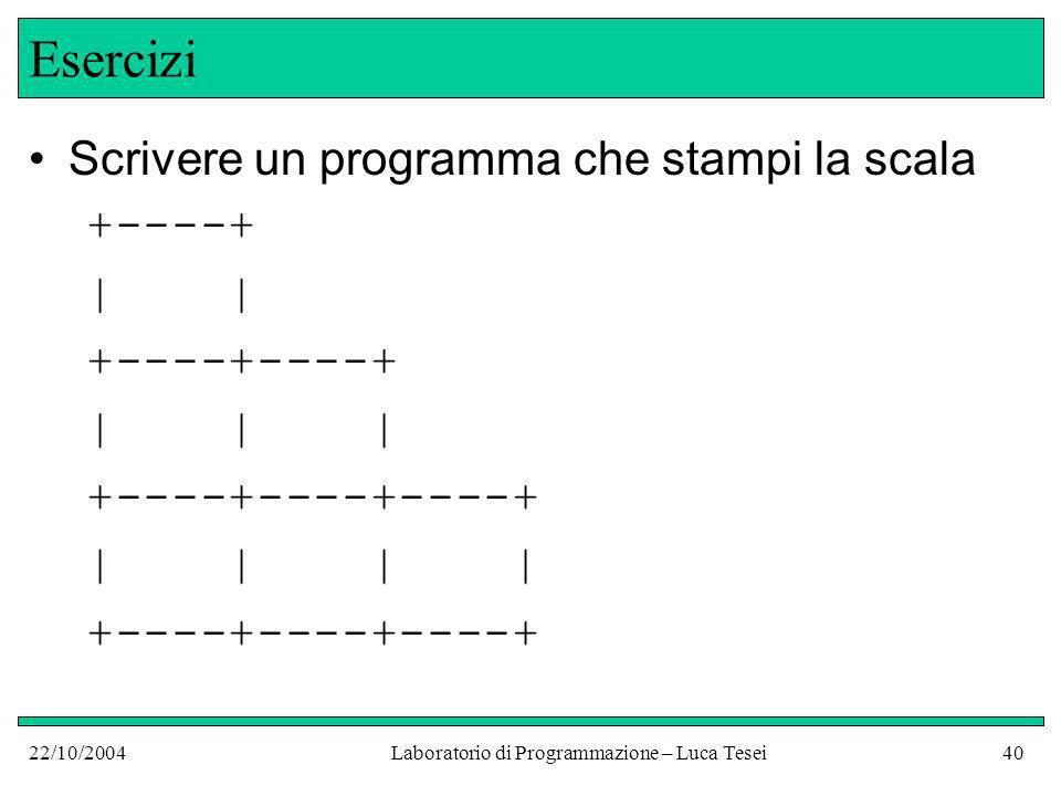 22/10/2004Laboratorio di Programmazione – Luca Tesei40 Esercizi Scrivere un programma che stampi la scala +----+ | | +----+----+ | | | +----+----+----+ | | | | +----+----+----+
