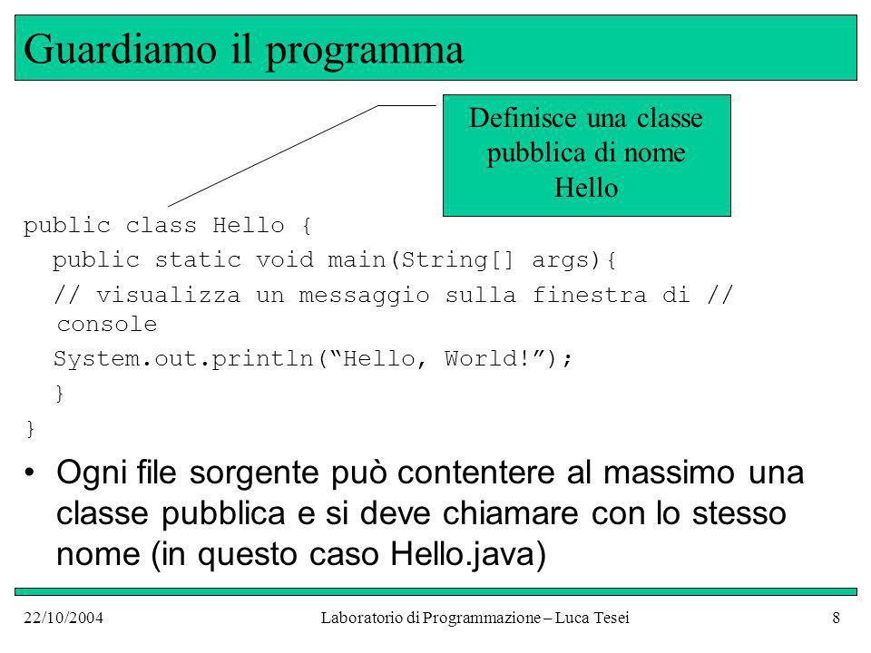 22/10/2004Laboratorio di Programmazione – Luca Tesei39 Esercizi Scrivere un programma che stampi il proprio nome in un rettangolo disegnato coi caratteri ASCII tipo +--------+   Luca   +--------+