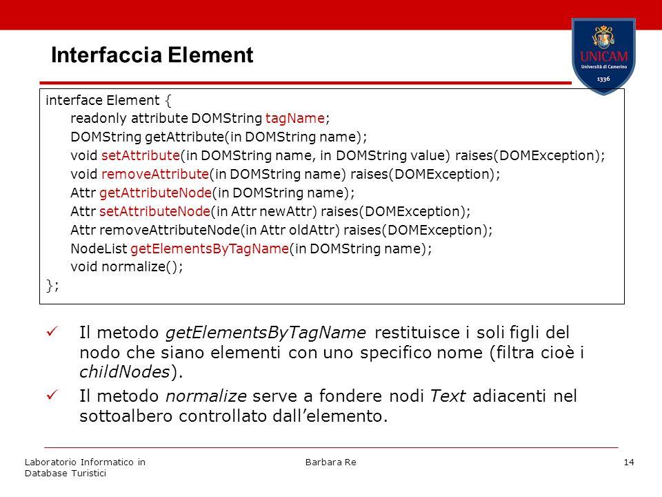 Laboratorio Informatico in Database Turistici Barbara Re14 Interfaccia Element Il metodo getElementsByTagName restituisce i soli figli del nodo che siano elementi con uno specifico nome (filtra cioè i childNodes).