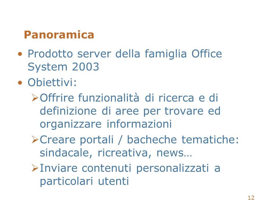 12 Panoramica Prodotto server della famiglia Office System 2003 Obiettivi: Offrire funzionalità di ricerca e di definizione di aree per trovare ed org