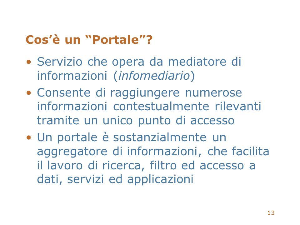 13 Cosè un Portale? Servizio che opera da mediatore di informazioni (infomediario) Consente di raggiungere numerose informazioni contestualmente rilev