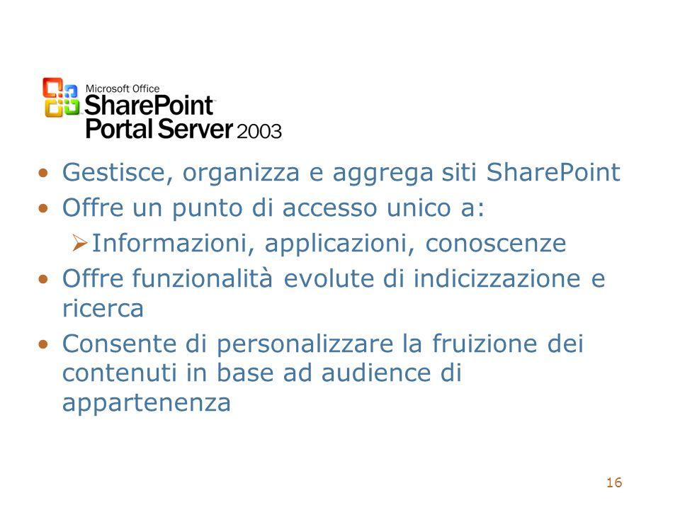 16 Gestisce, organizza e aggrega siti SharePoint Offre un punto di accesso unico a: Informazioni, applicazioni, conoscenze Offre funzionalità evolute