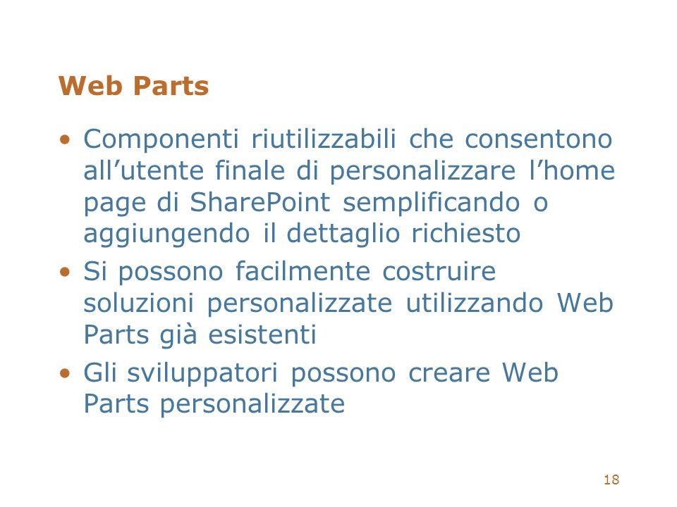 18 Web Parts Componenti riutilizzabili che consentono allutente finale di personalizzare lhome page di SharePoint semplificando o aggiungendo il detta