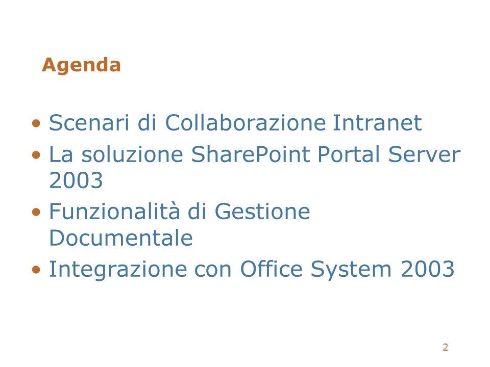 2 Agenda Scenari di Collaborazione Intranet La soluzione SharePoint Portal Server 2003 Funzionalità di Gestione Documentale Integrazione con Office Sy
