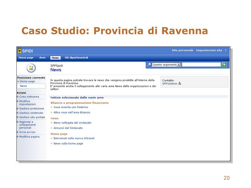 20 Caso Studio: Provincia di Ravenna