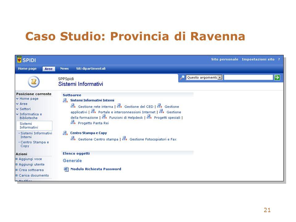 21 Caso Studio: Provincia di Ravenna