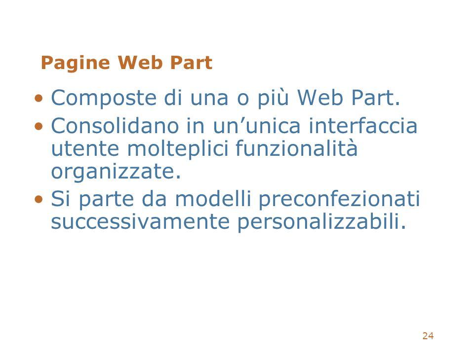 24 Pagine Web Part Composte di una o più Web Part. Consolidano in ununica interfaccia utente molteplici funzionalità organizzate. Si parte da modelli