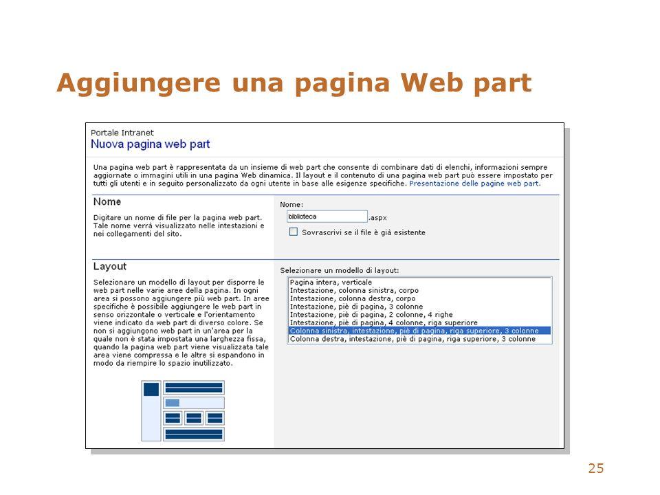 25 Aggiungere una pagina Web part