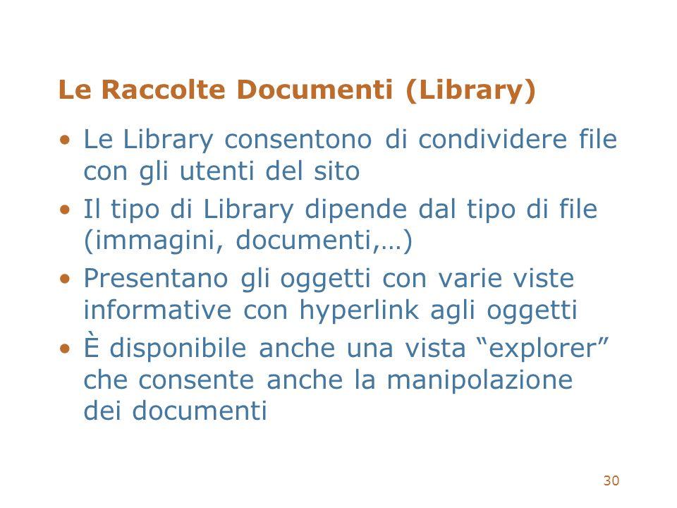 30 Le Raccolte Documenti (Library) Le Library consentono di condividere file con gli utenti del sito Il tipo di Library dipende dal tipo di file (imma