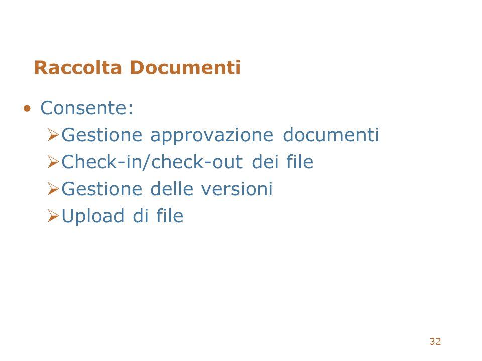 32 Raccolta Documenti Consente: Gestione approvazione documenti Check-in/check-out dei file Gestione delle versioni Upload di file