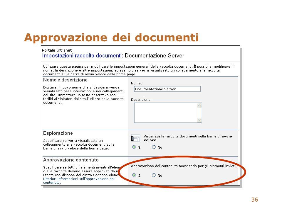 36 Approvazione dei documenti