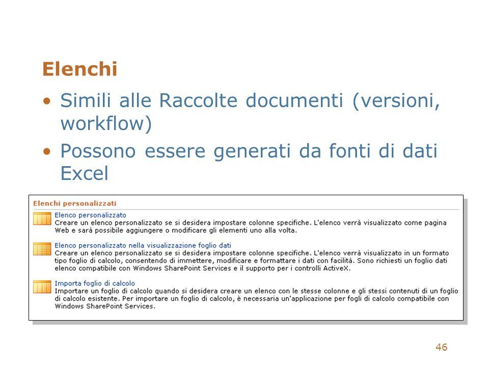 46 Elenchi Simili alle Raccolte documenti (versioni, workflow) Possono essere generati da fonti di dati Excel