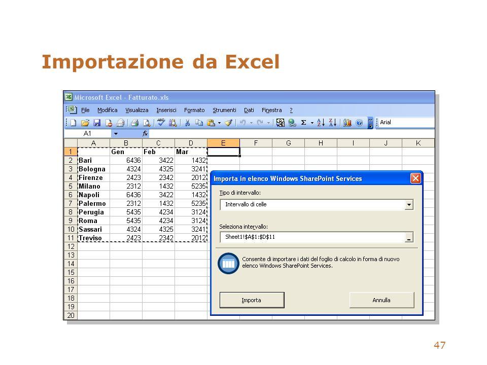 47 Importazione da Excel
